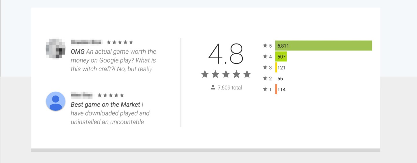 Play Store reviews