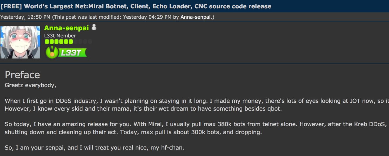 Mirai code leaked