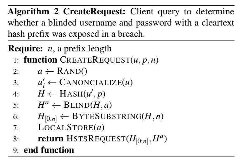 Password Checkup look up algorithm