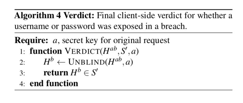 Password Checkup verdict algorithm