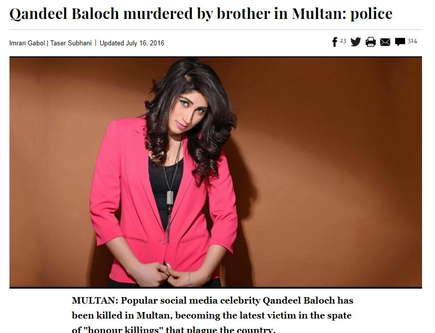 Qandeel Baloch murdered by broter