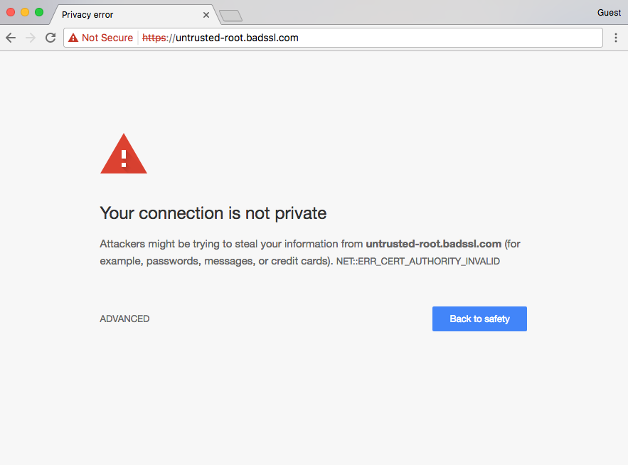 Warning for invalid TLS certificate in chrome